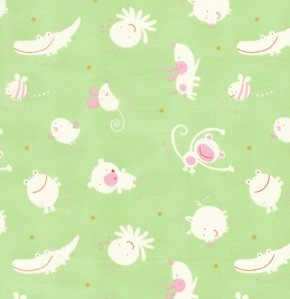 David Walker Baby Talk Fabric - Animal Toss - Green