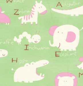David Walker Baby Talk Fabric - Animal Alphabet - Green