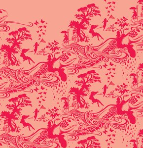 Tula Pink Prince Charming Fabric - Turtle Bay - Coral