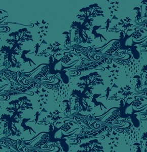 Tula Pink Prince Charming Fabric - Turtle Bay - Indigo