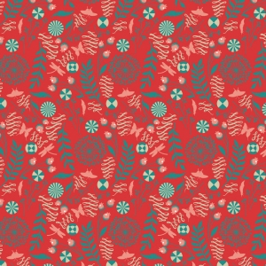 Tula Pink Prince Charming Fabric - Dandelion - Coral