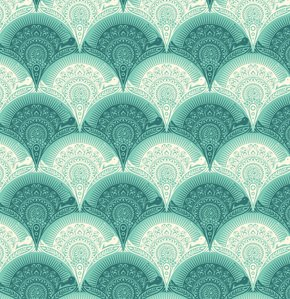Tula Pink Prince Charming Voile Fabric - Snail Scallop - Aqua