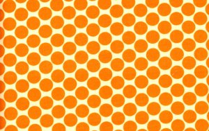 Amy Butler Lotus Fabric - Full Moon Polka Dot - Tangerine