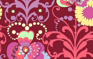 Amy Butler Love Fabric - Paradise Garden - Wine