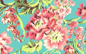 Amy Butler Love Fabric - Bliss Bouquet - Teal