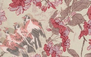 Melissa White Misaki Fabric - Sparrows and Blossom - Baltic