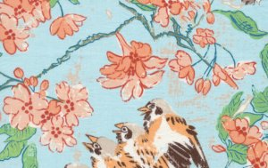Melissa White Misaki Fabric - Sparrows and Blossom - Edo