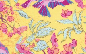 Melissa White Misaki Fabric - Sparrows and Blossom - Jaipur