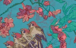 Melissa White Misaki Fabric - Sparrows and Blossom - Slavic