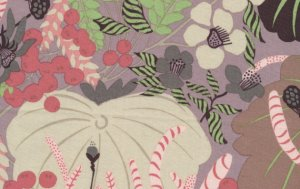 Melissa White Misaki Fabric - Lotus and Berries - Baltic