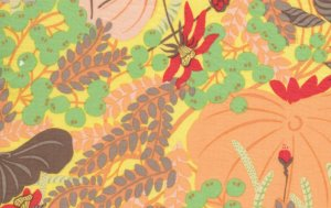 Melissa White Misaki Fabric - Lotus and Berries - Edo