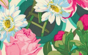 Martha Negley Flower Garden Fabric - Bunches - Pink