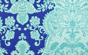 Amy Butler Love Laminate Fabric - Sandlewood - Periwinkle