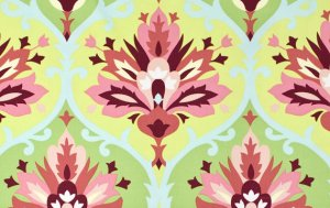 Amy Butler Love Laminate Fabric - Trumpet Flower - Pink