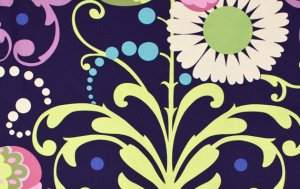 Amy Butler Love Laminate Fabric - Paradise Garden - Midnight