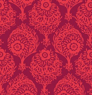 Anna Maria Horner Innocent Crush Fabric - Woodcut - Passion