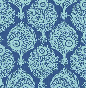 Anna Maria Horner Innocent Crush Fabric - Woodcut - Sass Blue