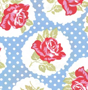 Tanya Whelan Delilah Fabric - Lulu Rose - Blue