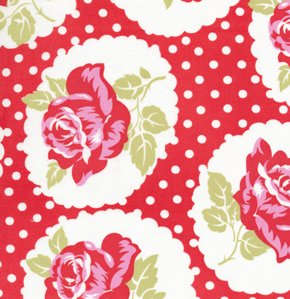 Tanya Whelan Delilah Fabric - Lulu Rose - Red