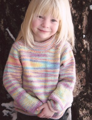 Knitting Pure and Simple Baby & Children Patterns - 9730 - Children's Neckdown Pullover Pattern