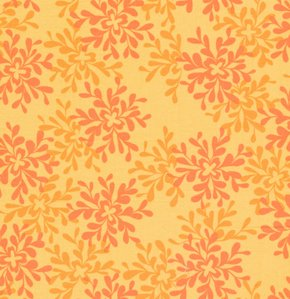 Valori Wells Nest Fabric - Leaves - Tangerine