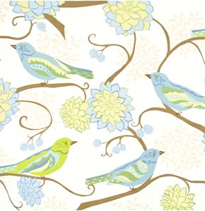 Valori Wells Nest Fabric - Bird Paisley - Teal