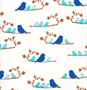 Valori Wells Wrenly Fabric - Mamma Birds - Cobalt