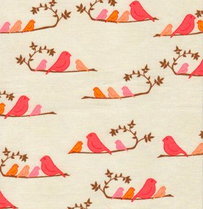 Valori Wells Wrenly Fabric - Mamma Birds - Mandarin