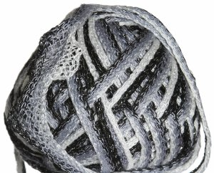 Knitting Fever Flounce Metallic Yarn - 02 White, Grey, Black w/Silver