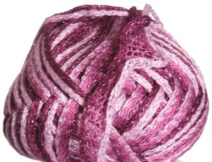 Knitting Fever Flounce Metallic Yarn - 03 Pink, Deep Rose, Burgundy w/Pink Metallic