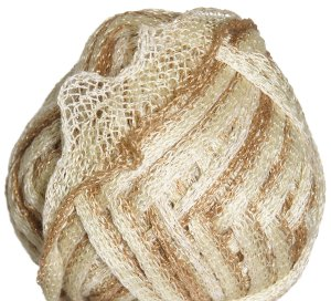 Knitting Fever Flounce Metallic Yarn - 04 White, Sand, Light Brown w/Gold