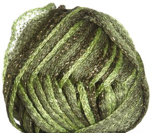 Knitting Fever Flounce Metallic Yarn - 08 Light Green, Olive, Dark Olive w/Gold