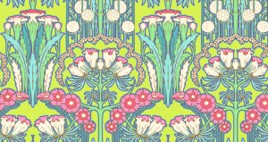 Amy Butler Soul Blossoms Fabric - Fuchsia Tree - Chartreuse