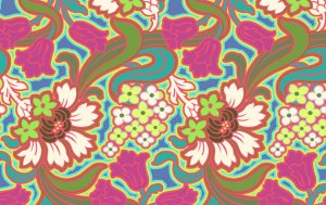 Amy Butler Soul Blossoms Fabric - Disco Flower - Hot Pink