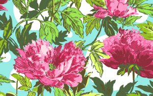 Amy Butler Soul Blossoms Fabric - Twilight Peony - Amaranth
