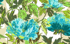 Amy Butler Soul Blossoms Fabric - Twilight Peony - Azure