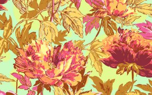 Amy Butler Soul Blossoms Fabric - Twilight Peony - Saffron