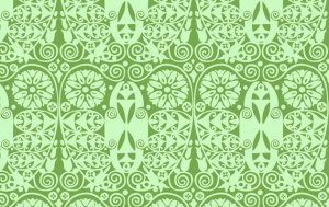 Amy Butler Soul Blossoms Fabric - Temple Doors - Basil