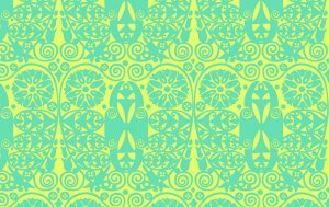 Amy Butler Soul Blossoms Fabric - Temple Doors - Fresh Mint