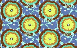 Amy Butler Soul Blossoms Fabric - Buttercups - Cyan