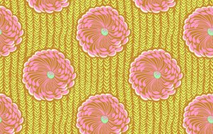 Amy Butler Soul Blossoms Fabric - Delhi Blooms - Rose