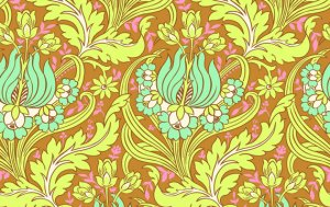 Amy Butler Soul Blossoms Fabric - Temple Tulips - Cinnamon