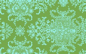 Amy Butler Organic Soul Blossoms Voile Fabric - English Garden - Pine