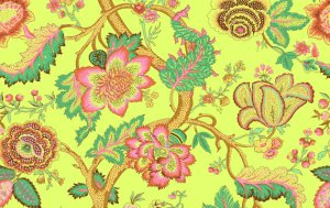Amy Butler Organic Soul Blossoms Voile Fabric - Night Tree - Cilantro