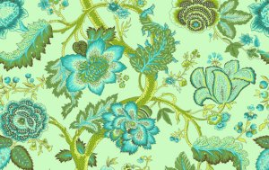 Amy Butler Organic Soul Blossoms Voile Fabric - Night Tree - Lime Peel