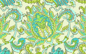 Amy Butler Organic Soul Blossoms Voile Fabric - Dancing Paisley - Limestone