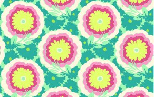 Amy Butler Organic Soul Blossoms Voile Fabric - Buttercups - Spearmint