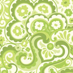 Heather Bailey Garden District Sateen Fabric - Cakewalk - Green