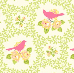 Heather Bailey Garden District Sateen Fabric - Mockingbird - Pink