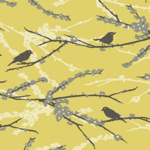 Joel Dewberry Aviary 2 Fabric - Sparrows - Vintage Yellow